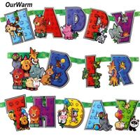 Happy Birthday Party Banner Jungle Safari Animal Theme Garland Kids Party Decor