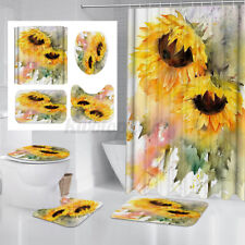 Oil Painting Sunflower Bathroom Shower Curtain Toilet Seat Cover Rugs Bath Mats