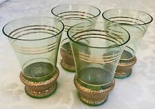 Vintage Lot of 4x Pale Green Glasses with Gold Embossing and Trim