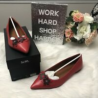NIB Authentic $225 COACH FLORAL APPLIQUE Poppy Red Leather Pointed Toe Flats 8