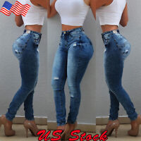 Women Hole Destroyed Ripped Distressed Denim Pants High Waist Jeans Trousers US