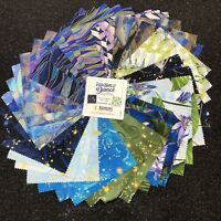 "DragonFly Dance Blue Charm Pack (42) 5"" squares Cotton quilting Fabric"