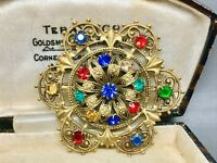 Lovely Large Czech Multi Coloured Crystal with Fleur De Lys Filigree Brooch