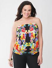 Lane Bryant Plus 26/28/30 BLACK Floral Flower Print Tube Tank Top Shirt Cami NeW