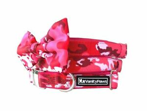 Pink Camouflage dog collar met buckle bow army cat puppy