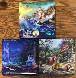3 Disney Dreams Thomas Kinkade 750 Piece Puzzles Ceaco Snow White Cinderella