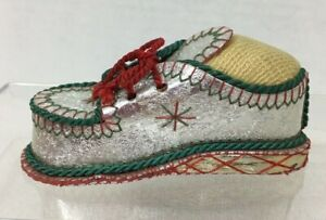 Handmade Shoe Sewing Pincushion Loafer Silver Crinkled Paper T45