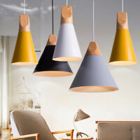 E27 Modern Wooden Pendant Ceiling Hanging Lamp Chandelier Kitchen Light Fixture