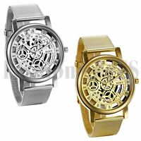 Men's Luxury Steel Mesh Band Anolog Quartz Wrist Watch Mechanical Skeleton Dial