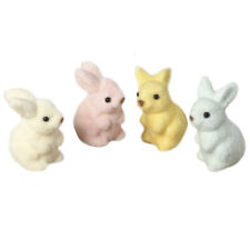 Bethany Lowe Pastel Fuzzy Bunny Rabbits Spring Easter Figurine Home Decorations