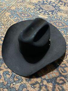 "Resistol 20X Black Gold Felt Hat 7 1/4 Long Oval 4 1/4"" Brim Great Condition"