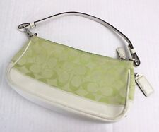 Coach Green Signature Canvas Cream Leather Demi Baguette Handbag Wristlet 6094