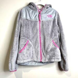 The North Face Oso Plush Fleece Denali Jacket Girls S 7/8 Zip Hoodie Pink Gray