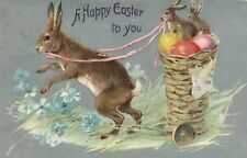 Tuck 112 Silver Metallic Bunny Pulling Basket With Eggs Easter Greeting Postcard
