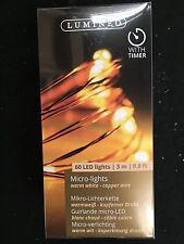 60 x Micro Bianco Caldo Luci Albero di Natale 295cm filo di rame BATTERIA OP W Timer