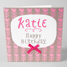 BEAUTIFUL FEMALE HAPPY BIRTHDAY GREETINGS CARD -Personalised,  ANY NAME, SQ15