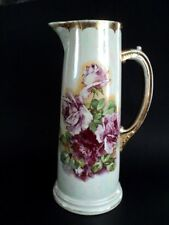 """Vintage Pearl China 12 3/4"""" tall late Victorian tankard pitcher rose decal"""