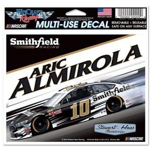 WinCraft NASCAR Stewart Haas Racing Aric Almirola NASCAR Aric Almirola #10 License Plate Frame Small Over Large Metallic Multi na
