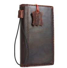 genuine vintage leather case for LG Stylus 2 book wallet cover cards slots brown