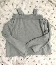 015 Korean Women's Fashion Off Shoulder Long Sleeve Blouse Top Gray