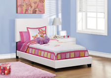 Monarch Specialities Bed - Twin Size / White Leather-Look (I-5911T)