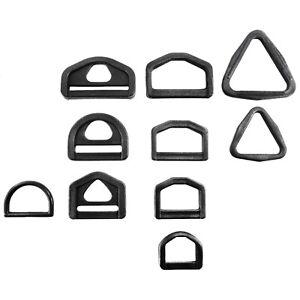 Black plastic D rings buckles for webbing 20 25 30 40 mm