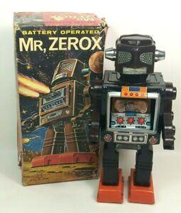 MR ZEROX - HORIKAWA Tin Plastic Robot 1960s Japan, Boxed, Tested Working