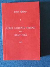 Masonic Book - Liber Ordinis Templi & Statutes - Great Priory - 1970