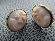 Antique 9 ct gold cameo earrings
