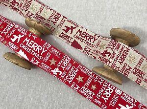 "Christmas Burlap Ribbon - 1 1/2"" Faux Natural Burlap - Red Burlap - Wreath Bow"