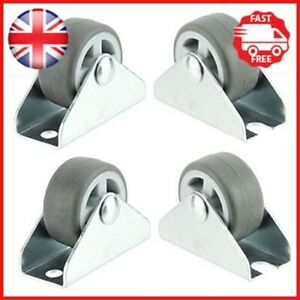 Spares2go Universal Castor Wheels Fixed Plate Fixing 1'' Mini Wheel 32mm, Pack 4