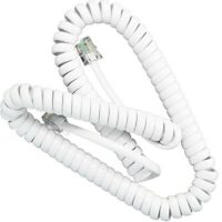 40cm RJ10 WHITE PHONE WIRE 4P4C Handset Desktop Coiled Plug Lead Cable 0.4m UK