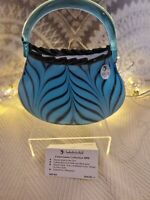 Fenton Dave Fetty Limited Edition Blue Ada's Feathered Purse Vase #5035 K8