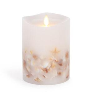 Luminara Flameless Pillar Candle With Seashells White Wax 4 X 5 Inches