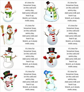 40 x Christmas Snowman soup labels/stickers for hot chocolate/present/gift bags
