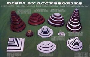 Wooden Display Bases Plinths Round Bevelled & Felted - Varnished - asstd sizes