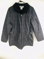 Women's Free Country Full Zip Hooded Jacket XL Extra Large, Fleece Lined Gray
