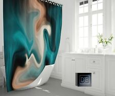 Blue and Tan Smoke Swirl Shower Curtain | Soft Abstract Design