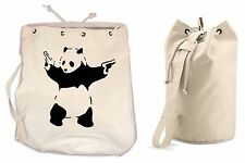 BANKSY PANDA WITH GUNS DUFFLE BAG College Rucksack Gym Beach Backpack Pistols