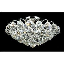 "Palace Blossom 14"" 4 Light Crystal Chandelier Flush Mount Light - Chrome"