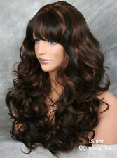 Dark Brown Auburn Mix WIG BOUNCY LONG WAVY Curly JSCA 4-30