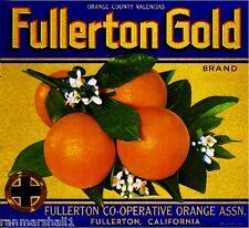 Fullerton Orange County Gold Orange Citrus Fruit Crate Label Art Print