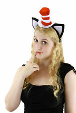 DR. SEUSS CAT IN THE HAT HEADBAND WITH EARS MINI TOP HAT COSTUME ACCESSORY BLACK