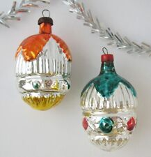 Set 2 Fir Cone Vintage Xmas Decor Christmas Russian Glass Silver Ornament Ussr