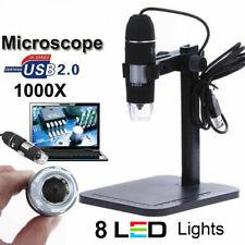 8LED 1000X 10MP USB Digital Microscope Endoscope Magnifier Camera+Lift St #J4