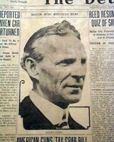 HENRY FORD Automobile Pioneer Crash Car Wreck Murder Attempt ? 1927 Newspaper
