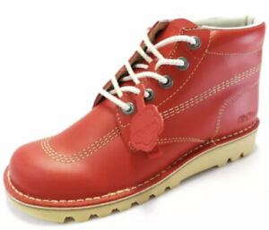 New Kickers High Leather Boots In Red Size UK 4 With Original Box + Free P&P