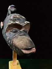 OLD BAMILEKE MONKEY MASK CAMEROON AFRICAN TRIBAL ART - RARE - NEVER SEEN ON EBAY