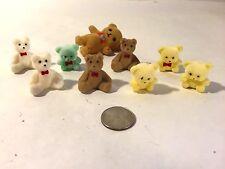 Vtg 9 Piece Lot Flocked Teddy Bears (Pandas) Taiwan Brown Blue Yellow White