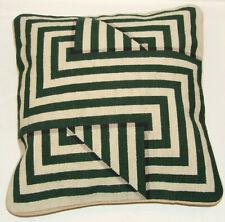 Geometric Design Green Cushion Cover Needlepoint Tapestry Handmade 10 mesh gauge
